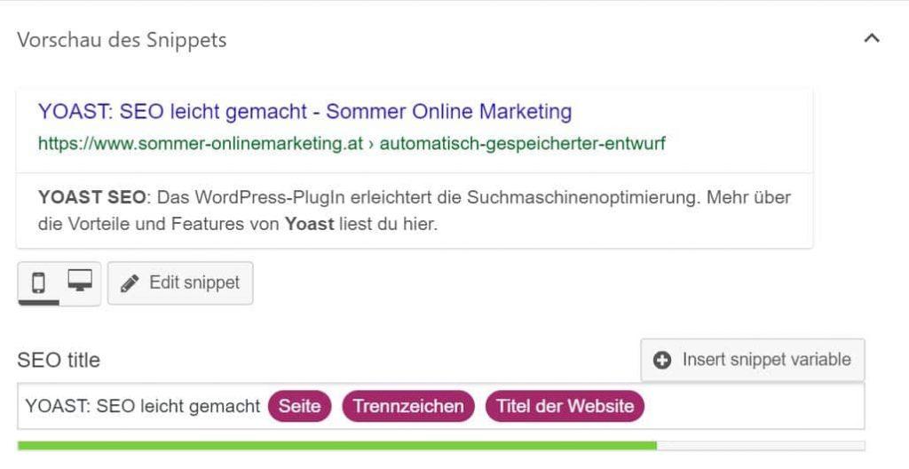 Yoast Google Snippet