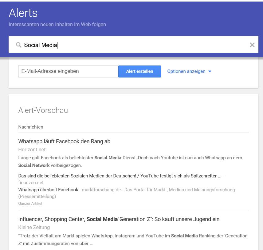 Google Alert für Content Ideen